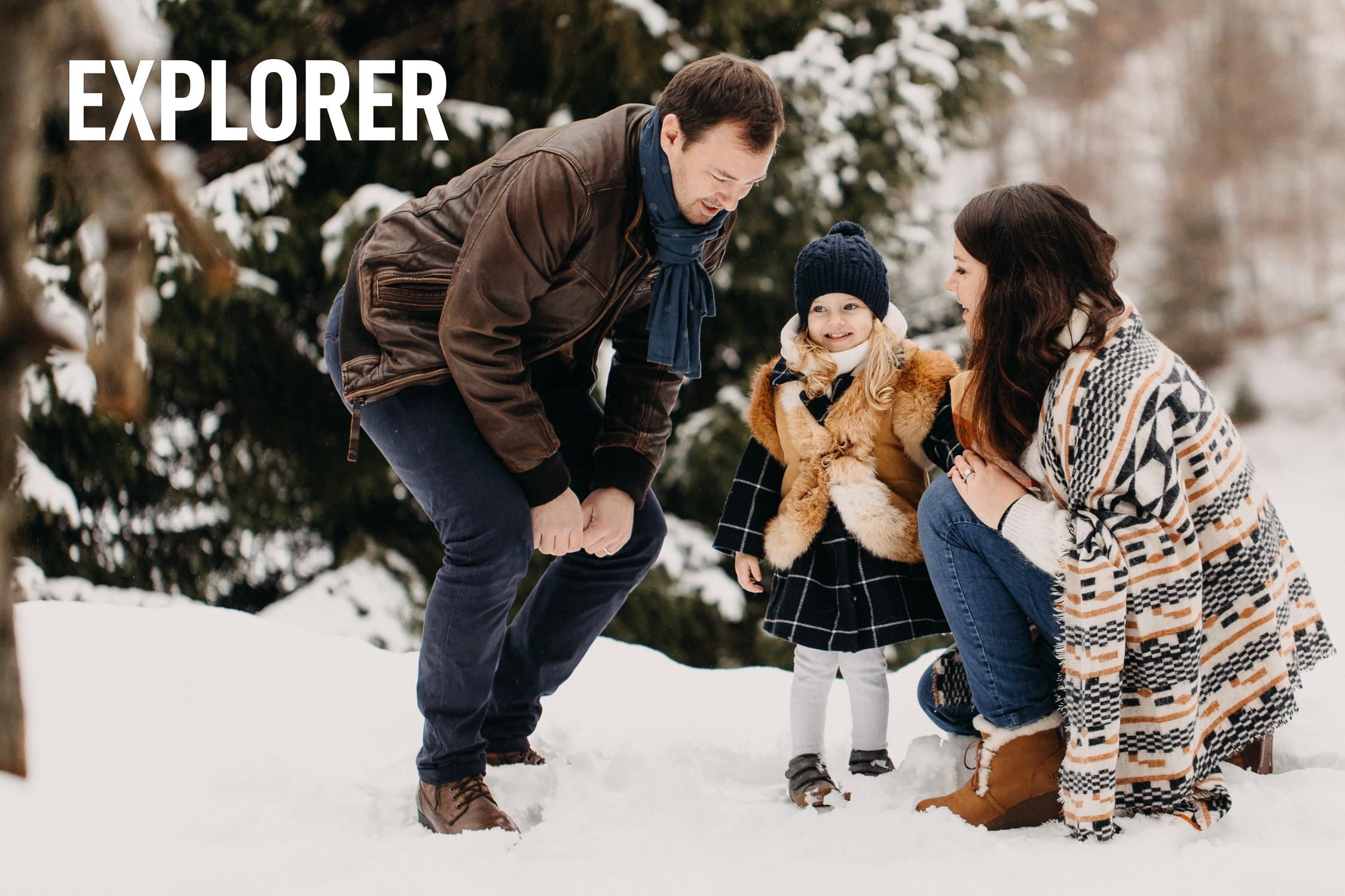 Séance photographe Famille à la neige au Revard dans les Bauges