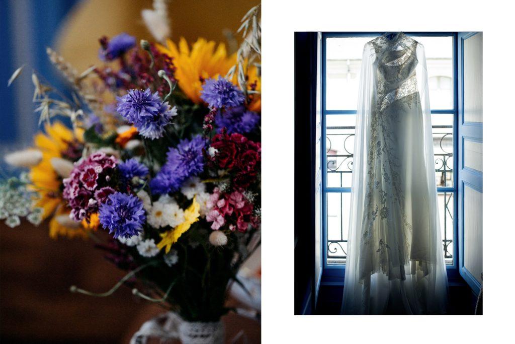 Détails bouquet préparatifs mariage et robe de mariée