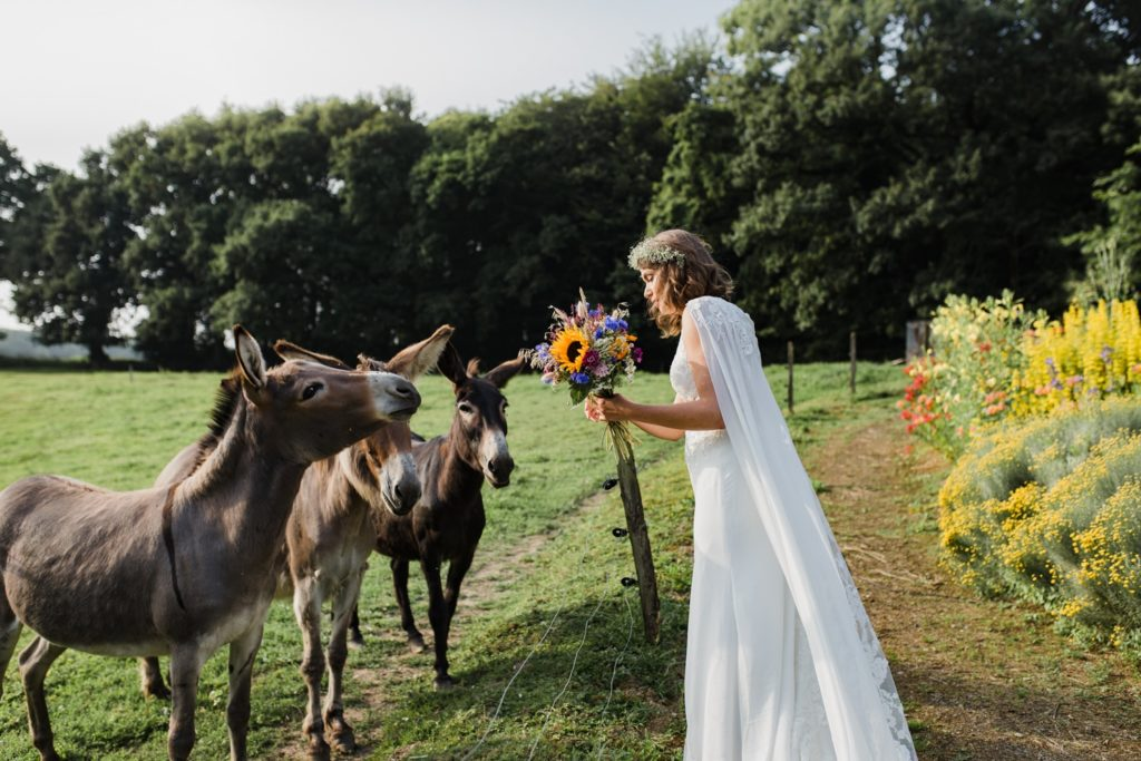 Mariée Vegan avec les animaux