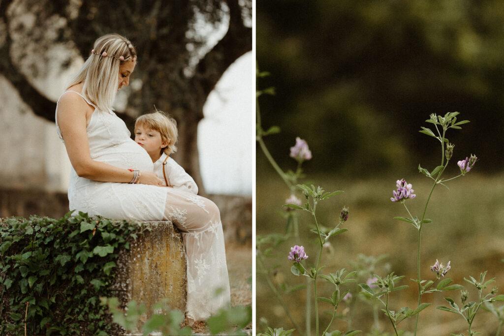 Séance photo maternité dans la nature